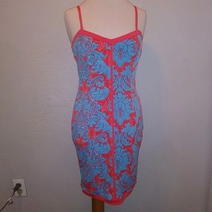 Nicole by Nicole Miller Coral & Blue Jersey Dress